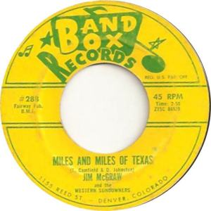 Band Box 288 - McGraw, Jim & Western Sundowners - Miles and Miles of Texas