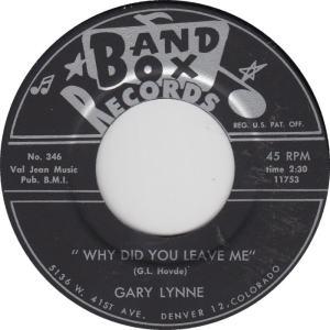 Band Box 349B - Lynne, Gary - Why Did You Leave