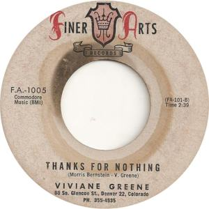 Finer Arts 1005 - Greene, Viviane - Thanks For Nothing