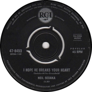 1963: U.S. Charts Bubbling Under #104 (UK pressing shown)