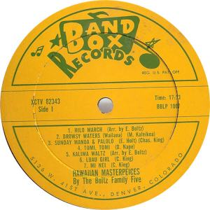 Band Box LP 1007 - Boltz Family Five - Hawaiian Masterpieces 1