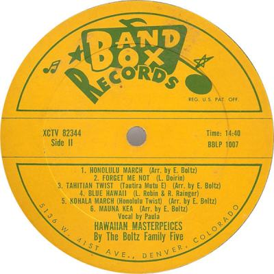 Band Box LP 1007 - Boltz Family Five - Hawaiian Masterpieces 2
