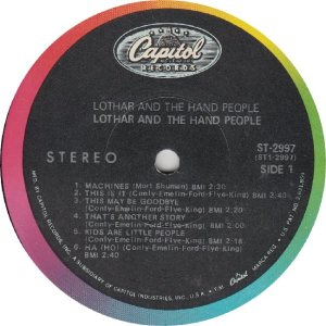 LOTHAR & HAND PEOPLE - CAPITOL 2997 - RA