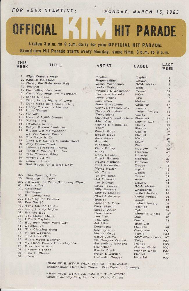 KIMN 1965 - 03-15-65 - B