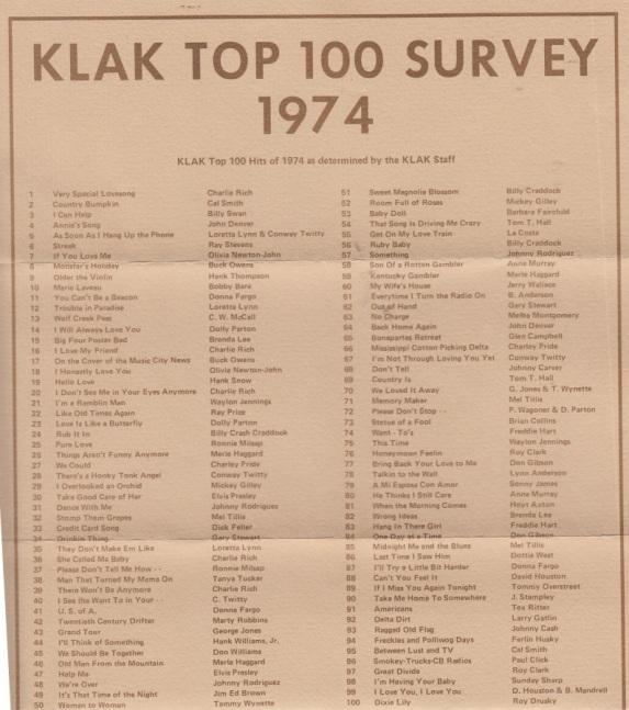 KLAK - 1974 - TOP 100