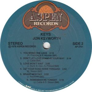 KEYWORTH, JON - ASPEN 2710 - KEYS R2