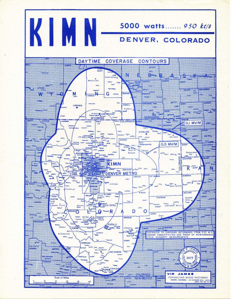 KIMN Coverage Map 1957