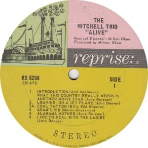 REPRISE 6258 - MITCHELL TRIO - ALIVE A