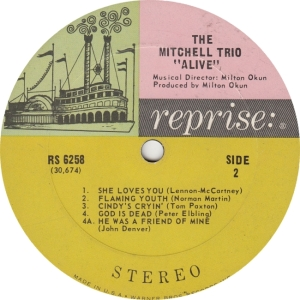 REPRISE 6258 - MITCHELL TRIO - ALIVE B
