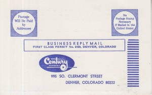 CENTURY RECORDS ORDER CARD 1