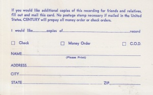 CENTURY RECORDS ORDER CARD 2