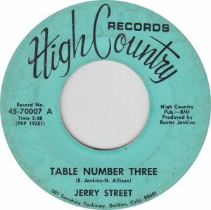 HIGH COUNTRY 70007 - STREET JERRY A