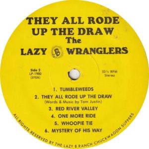 LAZY B WRANGLERS - LAZY B1980 - UP THE DRAW B