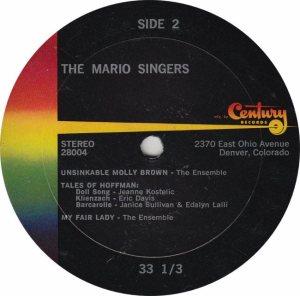MARIO SINGERS - CENTURY 28004 - RB