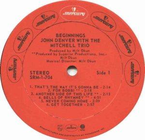MERCURY - DENVER JOHN - W MITCHELL TRIO 73 C