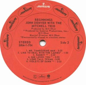 MERCURY - DENVER JOHN - W MITCHELL TRIO 73 D