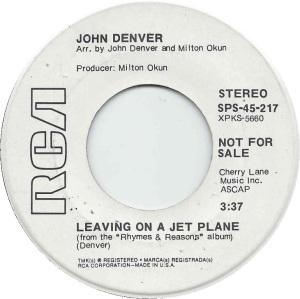 RCA 1969 - SPS 217 - DENVER JOHN - A