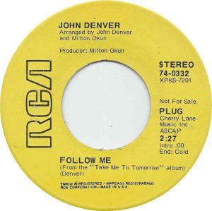 RCA 1970 MAR 70 332 - DENVER JOHN - DJ A