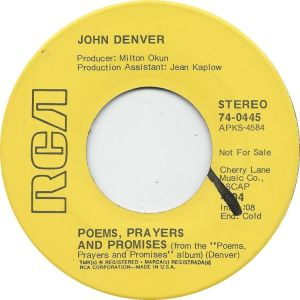 RCA 1971 MAR 445 - DENVER JOHN DJ B