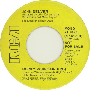 RCA 1972 NOV 829 - DENVER JOHN DJ A