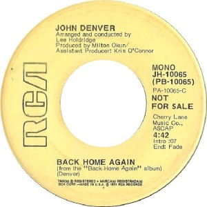 RCA 1974 SEP 10065 - DENVER JOHN DJ A