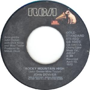 RCA 1975 11 - 10477 - GOLD STANDARD - DENVER JOHN C