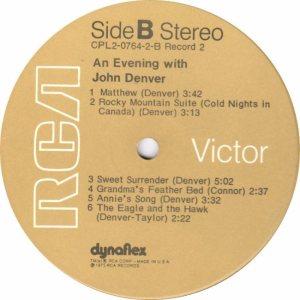 RCA - DENVER JOHN - AN EVENING WITH - 75 D