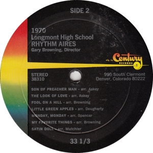 RHYTHM AIRES - CENTURY - LONGMONT HIGH 1970 A