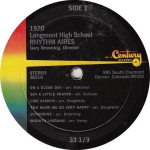 RHYTHM AIRES - CENTURY - LONGMONT HIGH 1970 B