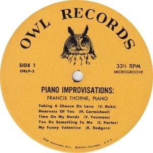 THORNE FRANCIS - OWL 5 - IMPROVISATIONS RA