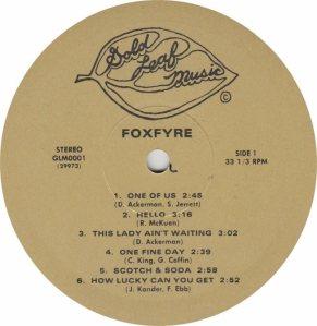 FOXFYRE - GOLD LEAF 1 - RA