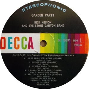 NELSON RICK - DECCA GARDEN PARTY RA