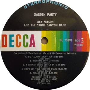 NELSON RICK - DECCA GARDEN PARTY RAB