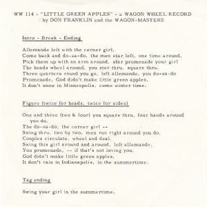 Wagon Wheel - 114 - Wagon Masters INS - Little Green Apples Vocal
