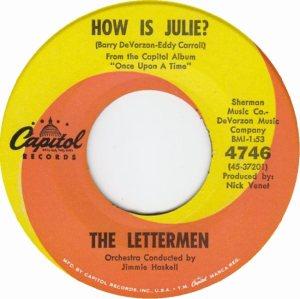 LETTERMEN - HOW IS JULIE B