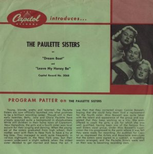 PAULETTE SISTERS - 55 A