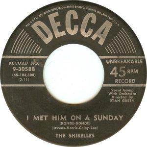 SHIRELLES - DECCA 3-58