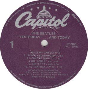BEATLES LP LABEL 25 78