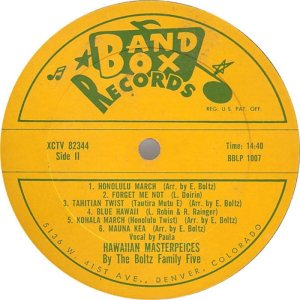 Boltz - Band Box LP 1007 F - Blotz Family Five - Hawaiian Masterpieces (3)