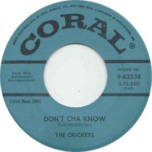 1960 - 45 CRICKETS CORAL 62238 B