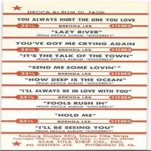 Lee, Brenda - Decca 33EPCF 74216 C