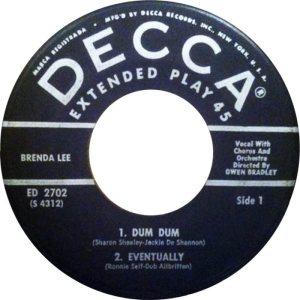 LEE, BRENDA - DECCA EP 1961 2702 B