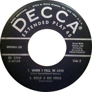 LEE, BRENDA - DECCA EP 1961 2702 C