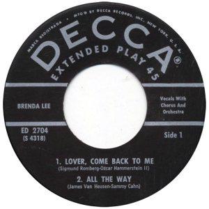 LEE, BRENDA - DECCA EP 1961 2704 C