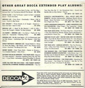 LEE, BRENDA - DECCA EP 1964 2775 B