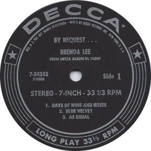 LEE, BRENDA - DECCA EP 1964 34243 C
