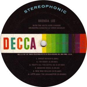 LEE, BRENDA DECCA LP 4039 C