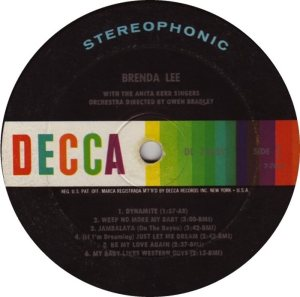 LEE, BRENDA DECCA LP 4039 D