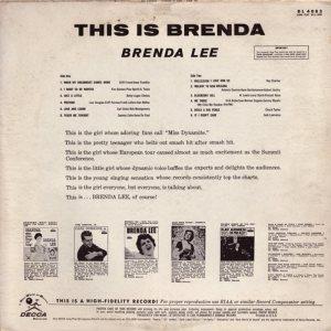 LEE, BRENDA DECCA LP 4082 B