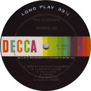 LEE, BRENDA DECCA LP 4082 C